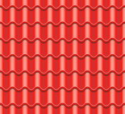 Red Corrugated Tile Vector. Element Of Roof. Seamless Pattern. Ceramic Tiles. Fragment Of Roof Illustration. Corrugated Tile Vector. Element Of Roof. Seamless stock illustration