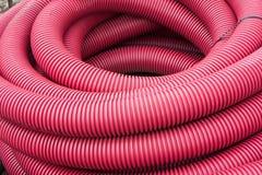 Red corrugated tube Stock Image