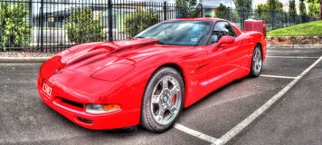 Red Corvette. A red Corvette on display Stock Images