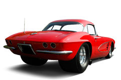 Red Corvette Drag Car. Rear quarter view of a modified Corvette.  Vehicle has clipping path, excluding shadow Stock Photo