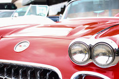 Red Corvette. Front view of a red convertible 50's-60's Corvette Stock Image