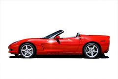Red Corvette Isolated Royalty Free Stock Photo