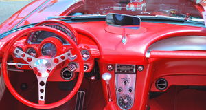 Red Corvette. SEATTLE, WA--CIRCA JUNE 27, 2014. Car show in Seattle with the 1958 red corvette on display.  Photo taken on June 27, 2014 Stock Photo