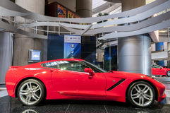 Red corvette stingray. A red corvette sting ray car on display Royalty Free Stock Photo