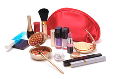 Red cosmetic bag Stock Photo