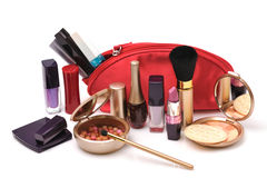 Red cosmetic bag Stock Image