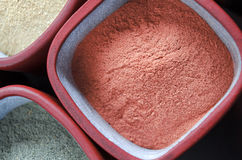 Red cosmetic clay powder. Top view Royalty Free Stock Photo