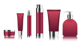 Red cosmetic tubes. Vector Royalty Free Stock Images