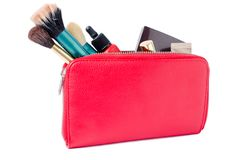 Free Red Cosmetics Bag With Powder Brushes, Compact Powder Case, Lip Royalty Free Stock Image - 133180126