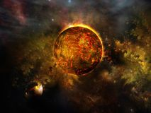 Red cosmic planet Stock Image