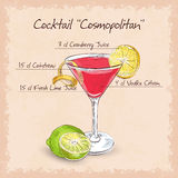 Red Cosmopolitan Cocktail Stock Images