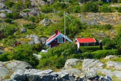 Red cottage. In the mountains Royalty Free Stock Photography