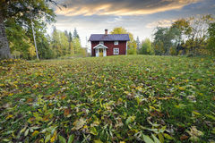 Red cottage and autumn leaves Royalty Free Stock Images