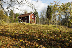 Red cottage and autumn leaves Stock Photo