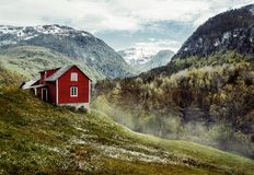 Red cottage. Vintage Stock Photography