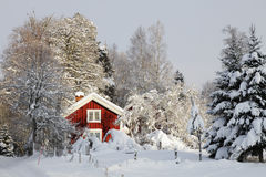 Red cottage and winter landscape Stock Image