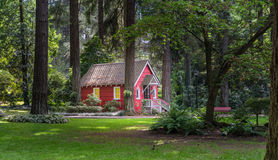 Red cottage in the woods Royalty Free Stock Image