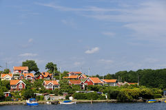 Red cottages in Brandaholm , Sweden royalty free stock photos