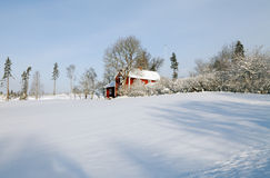 Red cottages in winter Stock Images