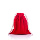 Red cotton bag for coin. Studio shot isolated on white Stock Image