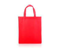 Red cotton bag. Studio shot isolated on white Stock Photography