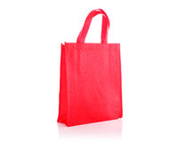 Red cotton bag. Studio shot isolated on white Stock Photo