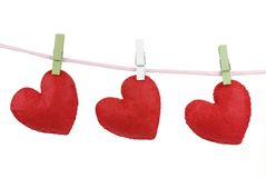 Red cotton fabric hearts Stock Photo