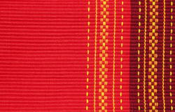 Red cotton ribbed placemat. With decorative pattern Royalty Free Stock Images