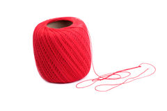 Red cotton spool. Isolated Red coton spool against white background Stock Image