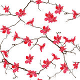 Red cotton tree chinese seamless vector print Royalty Free Stock Image