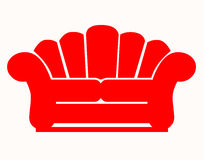 Red couch. Closeup of couch on white background Royalty Free Stock Photos