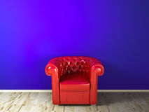 Red leather sofa. Red couch on blue background and wooden flooring royalty free illustration