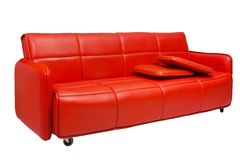 Red couch. Red leather couch on white Royalty Free Stock Photo