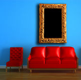 Red couch and chair with modern frame Royalty Free Stock Images