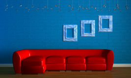 Red couch with empry frames Royalty Free Stock Photos