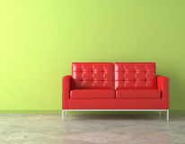 Red couch on green wall. Interior scene of vivid red couch on green vibrant wall royalty free illustration