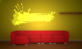 Red couch with gunge frame Royalty Free Stock Images