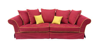 Red couch isolated. Red comfortable couch isolated with clipping path included Stock Images