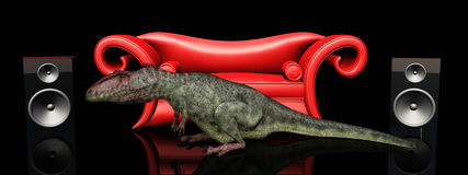 Red couch, loudspeaker boxes and the dinosaur Giganotosaurus Stock Photo