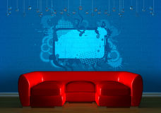 Red couch in minimalist interior Royalty Free Stock Images