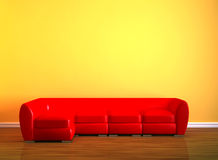 Red couch in minimalist interior Royalty Free Stock Photos
