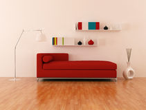 Red couch in modern lounge Royalty Free Stock Image
