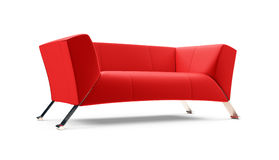 Red couch over white Royalty Free Stock Photography