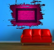 Red couch and pink splash hole Royalty Free Stock Photos