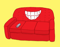 Red couch showing teeth with ironic grin. Cartoon illustration of a couch with big grin stock illustration