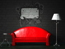 Red couch with splash Stock Photos