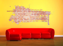 Red couch with splash hole Royalty Free Stock Photography