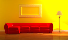 Red couch with standard lamp Stock Photography