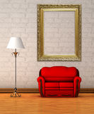 Red couch with standard lamp and ornate frame Royalty Free Stock Photography