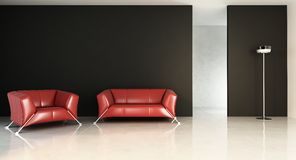Red Couch to face a blank wall Stock Photos
